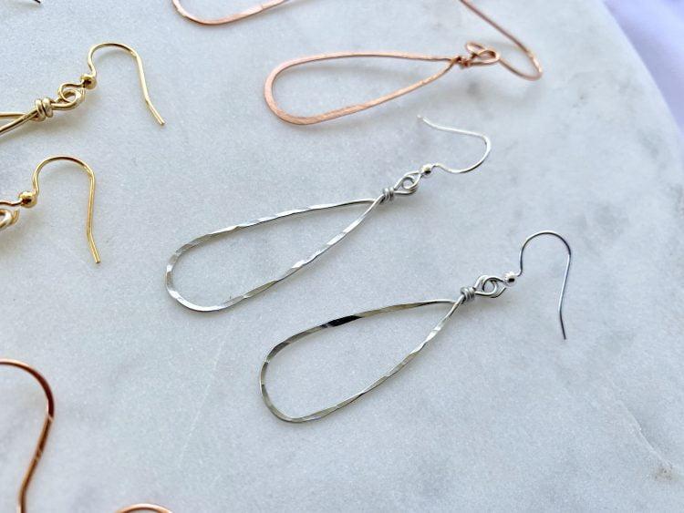 Lightweight handmade teardrop earrings