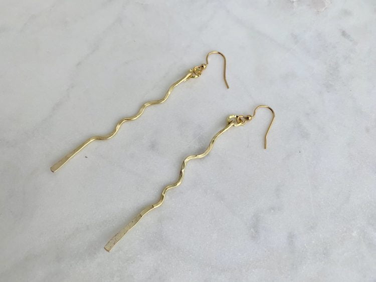 Lightweight Hammered Gold Linear Earring