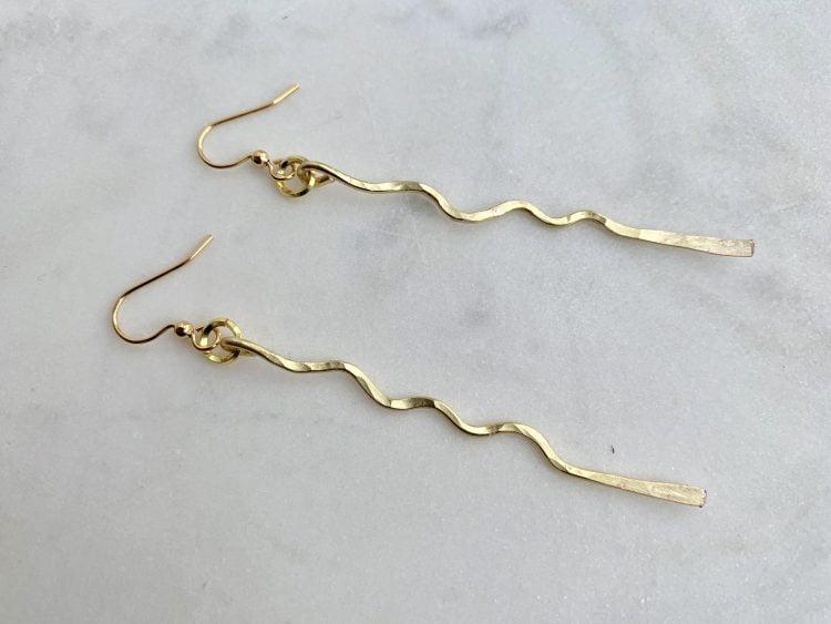 Lightweight Hammered Gold Linear Earring