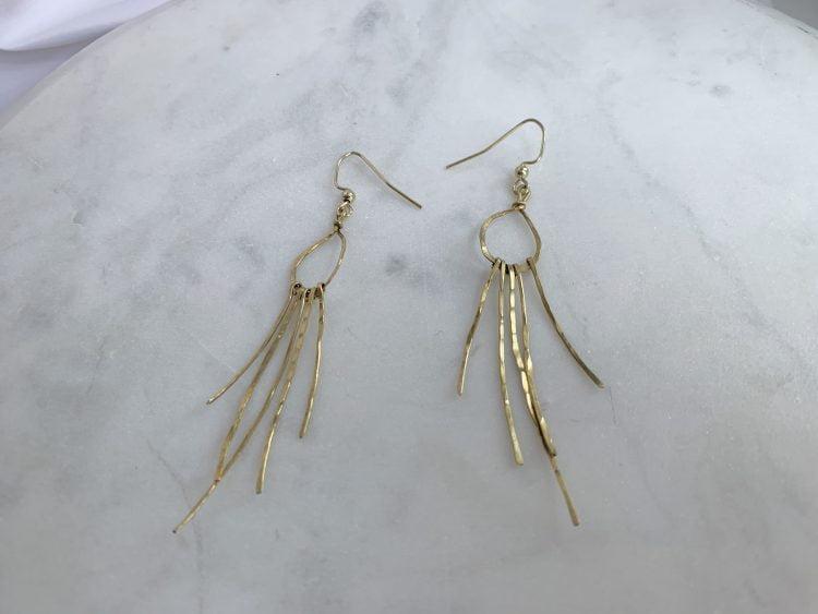 Lightweight handmade fringe hoop earrings