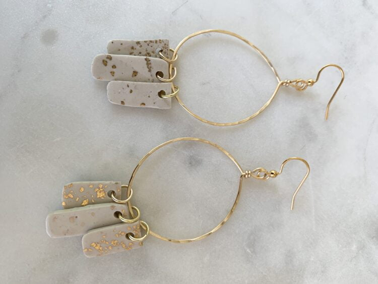 Gold & White Statement Earrings - Hammered Gold Hoop Earring