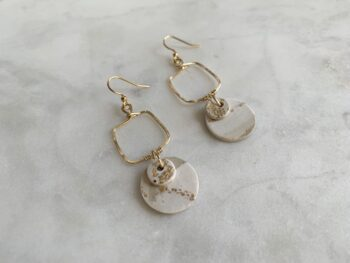 Gold & White Statement Earrings - Hammered Gold Earring