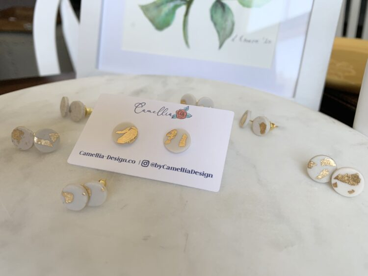 Simple Statement Earrings - White & Gold
