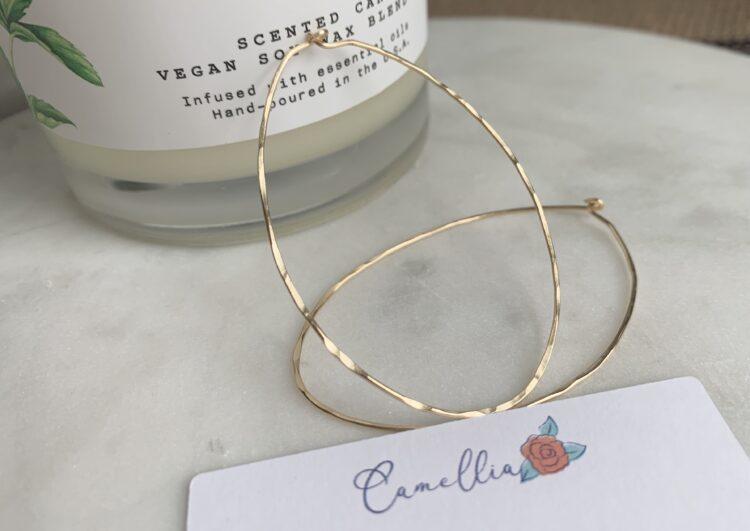 Lightweight Hammered Gold Hoop Earring