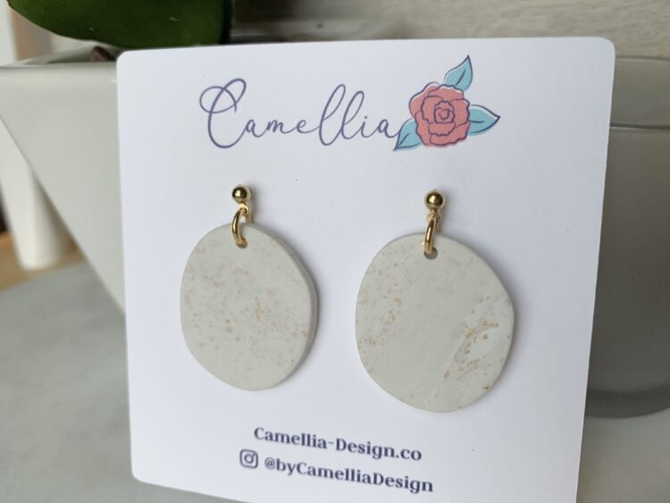 White & Gold Clay Earring - Unique Oval