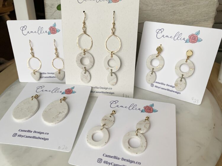 White & Gold Clay Earrings
