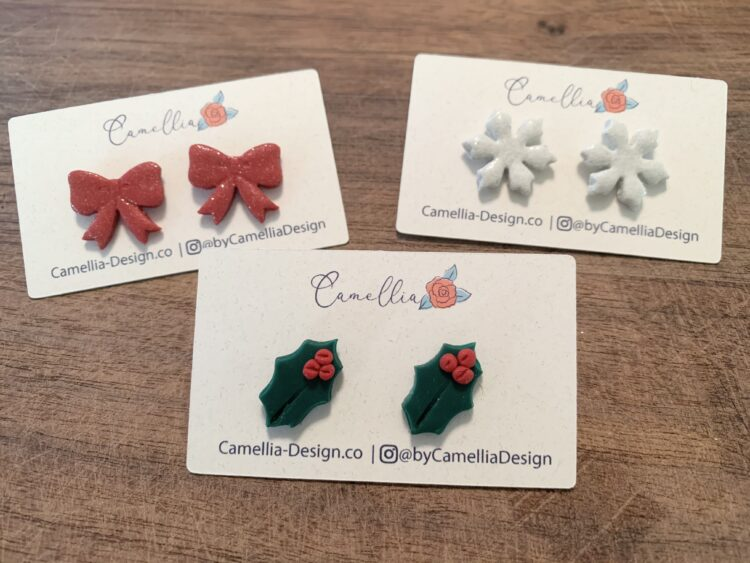 Christmas Earrings - Ribbon, Holly Leaf and Snowflake