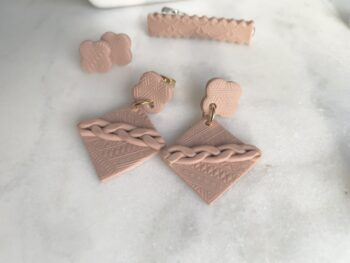 Handmade Camel Knit Earrings