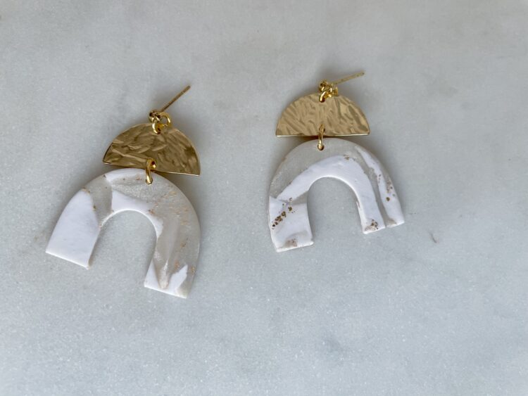 White and Gold Polymer Clay Arch Statement Earrings