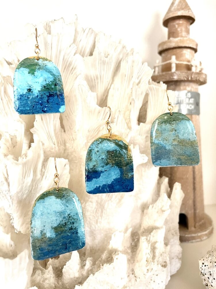 Beachy Handmade Ocean Waves Earrings