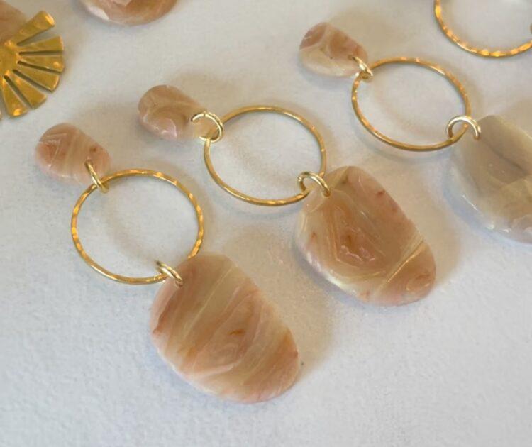 Peach and Gold Handmade Clay Dangle Earrings
