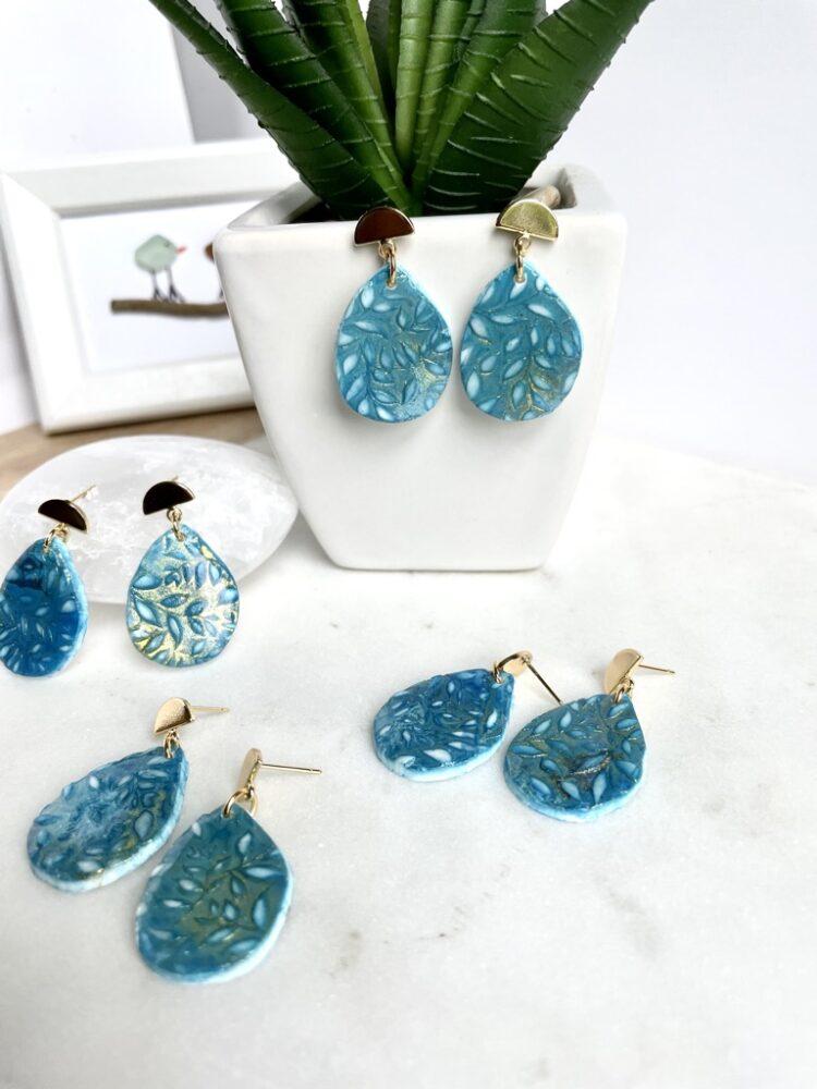Handmade Summer Floral Clay Dangle Earrings