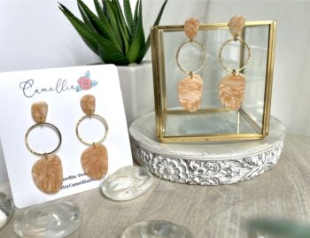Peach and Gold Handmade Clay Dangle Earrings