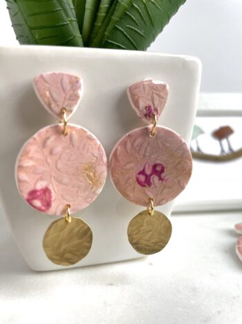 Handmade Pink Floral Clay Dangle Earrings