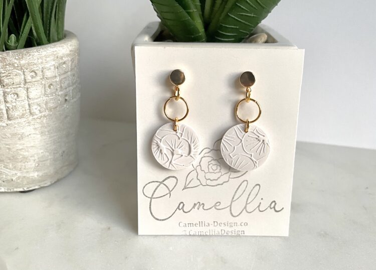 Summer White Double Sided Clay Drop Earrings