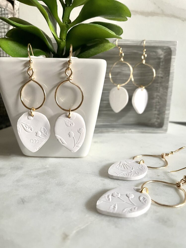 Summer White Double Sided Hoops