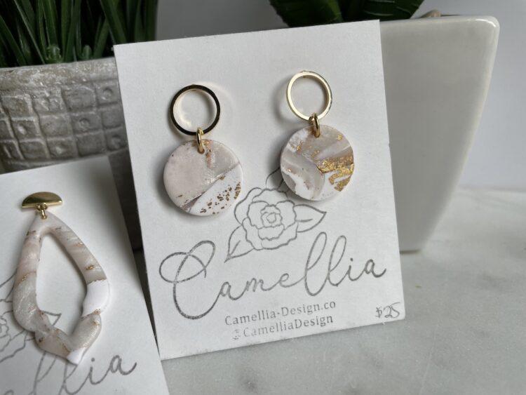 White and Gold Mini Hoop Earrings