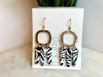 Zebra print dangle earrings