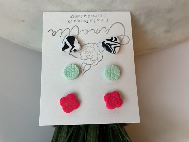 Zebra print and neon stud earrings