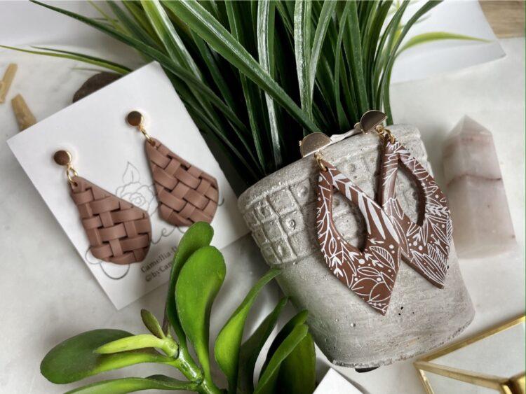 Rustic Summer Botanical Weave Earrings