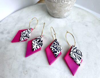 Zebra print and neon hoop earringS