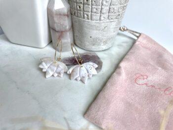 White Marble Seashell Hoop Earrings