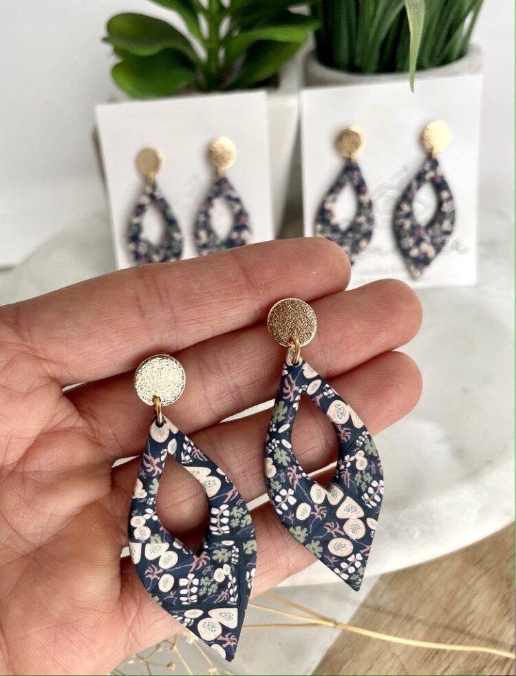 Fall Floral Teardrop Earrings