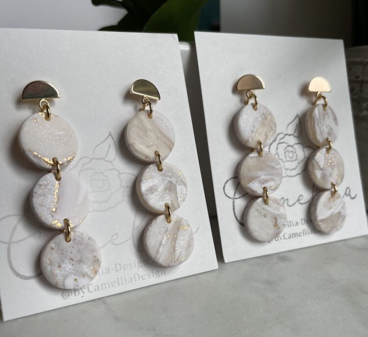 White Marble Stacked Earrings