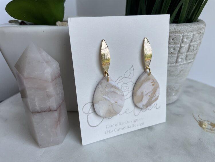White Marble Teardrop Earring