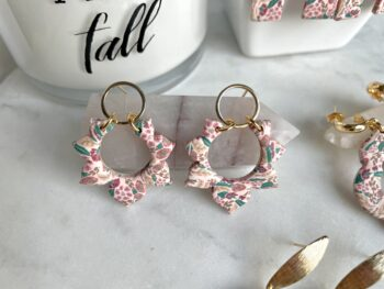 Fall Floral Burst Clay Earrings