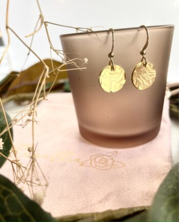 Hammered Gold-Plated Disc Earrings